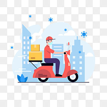 pngtree delivery man riding a motorcycle avoid the corona virus png image